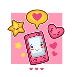 Kawaii mobile phone lovely card Doodles with vector