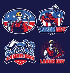 Labor day badge designs in set vector