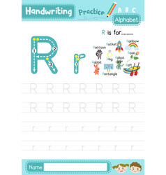 Letter r uppercase and lowercase tracing practice vector