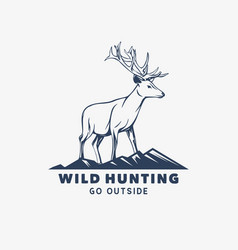 Logo design wild hunting go outside with deer vector