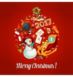 Merry Christmas 2017 poster greeting card vector image