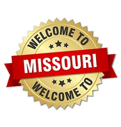 Missouri 3d gold badge with red ribbon vector