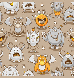 monsters cartoon seamless pattern vector image