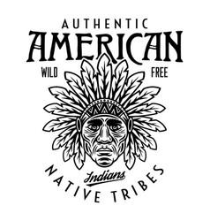native american indians vintage emblem vector image