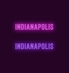 Neon name of indianapolis city in usa text vector