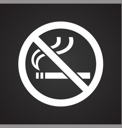No smoking allowed sign on black background for vector