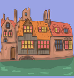 old medieval house vector image