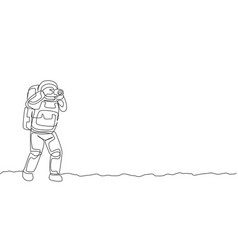 One continuous line drawing astronaut doing vector