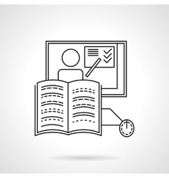 Online training flat line icon vector image