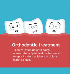 Orthodontic treatment banner with teeth characters vector