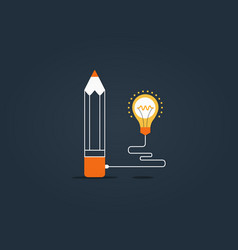 pencil bulb connecting digital business vector image