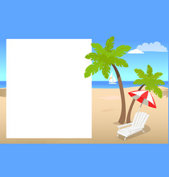 photo frame with place for your text with palms vector image