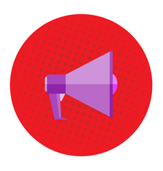 Picture a megaphone on a red background pop vector