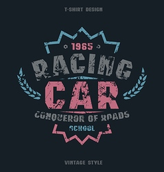 Racing car badge with texture vector