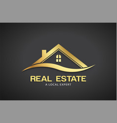 Real estate gold logo template vector