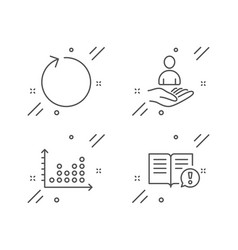 Recruitment loop and dot plot icons set facts vector