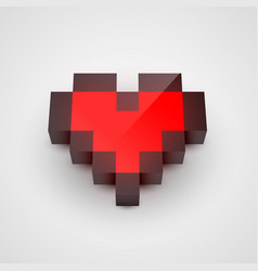 Red pixel isometric heart clean vector