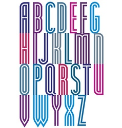 Retro colorful geometric decorative striped font vector