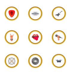 rock icons set cartoon style vector image