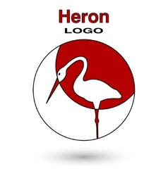 round logo heron on a background sun vector image