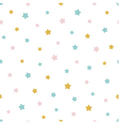 Seamless pattern with colored stars baby print vector