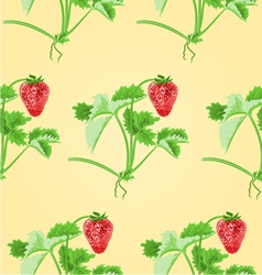 Seamless texture of strawberries with leaves vector