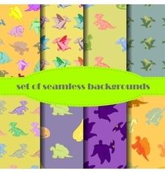 Set Dinosaurs Seamless backgrounds vector