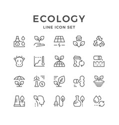 Set line icons of ecology vector