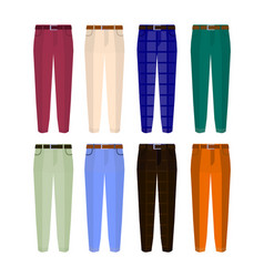 set of classic trousers for men different color vector image
