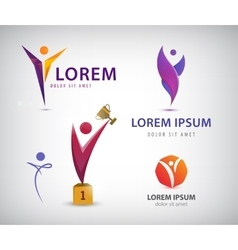 Set of man human leadership logos icons vector