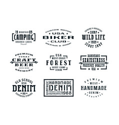 set of typographic emblems in the style of vector image