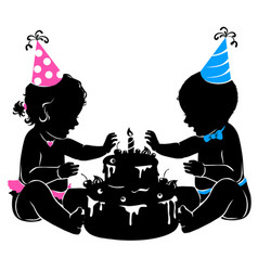 Silhouette baby twins with birthday cake with vector