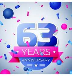 Sixty three years anniversary celebration on grey vector image