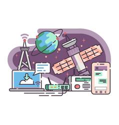 Space satellite for communication internet vector