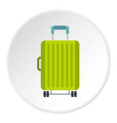 Suitcase on wheels icon circle vector