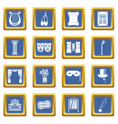 Theater icons set blue vector