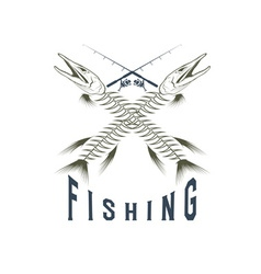 Vintage fishing emblem with skeleton of pike vector