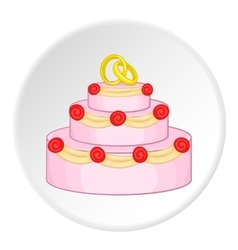 Wedding cake icon cartoon style vector image