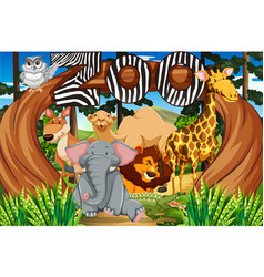 Wild animals at the zoo entrance vector