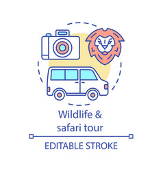 Wildlife and safari tour concept icon vector