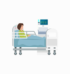 Woman on hospital bed icon vector