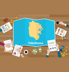 Yokohama japan city region economy growth with vector