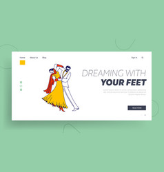 young couple dancing waltz or tango landing page vector image