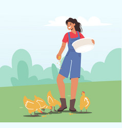 Young woman in working robe feeding fowl on nature vector