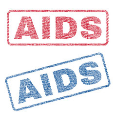 Aids textile stamps vector