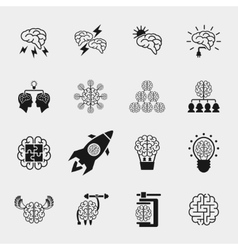 Brainstorming black icons set Creative brain idea vector image vector image