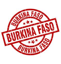 burkina faso red round grunge stamp vector image vector image