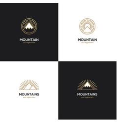 four mountain logo in golden color vector image vector image