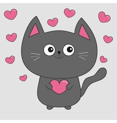 Gray contour cat holding pink heart set Cute vector image vector image