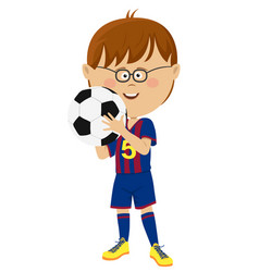 little boy in uniform holding soccer ball isolated vector image vector image